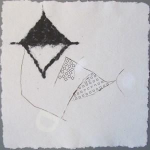 Serie 30x30, 2012, Recyclingbütten, letraset, Pflanzenfasern, 30x30 cm